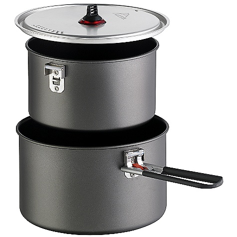 Free Shipping. MSR Base 2 Pot Set DECENT FEATURES of the MSR Base 2 Pot Set 1.5L nonstick aluminum pot 2.5L nonstick aluminum pot Strainer Lid Talon pot handle Packtowl included (to prevent scratches when packed) Compact: Efficient nesting design saves valuable pack room Easy Clean-Up: Scratch-resistant, nonstick aluminum surface Modular: Add the MSR Deep Dish plates and insulated mugs (sold separately) , or customize it to suit your needs The SPECS Height: 5in. / 12.7 cm Diameter: 7.75in. / 19.7 cm Weight: 1 lbs 0.2 oz / 459 g This product can only be shipped within the United States. Please don't hate us. - $54.95