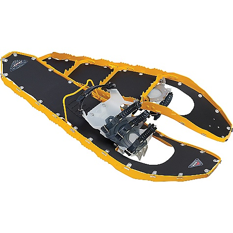 Camp and Hike Free Shipping. MSR Men's Lightning Ascent 30 Snowshoe DECENT FEATURES of the MSR Men's Lightning Ascent 30 Snowshoe U360deg Traction frames and Pivot crampons deliver advanced, edge-to-edge grip Unmatched traction and security on any terrain, in any conditions Two-piece, independently conforming PosiLock AT bindings Secure, freeze-resistant attachment, regardless of footwear Now available with Modular Flotation tails to allow you the maneuverability of a smaller, primary snowshoe Added, on-demand flotation of optional, 5-inch (13-cm) tails Ergo Televators reduce fatigue and increase traction on the steeps with an ergonomic design Engages with a simply flick of a pole grip The SPECS Weight per pair: 4 lbs 8 oz / 2030 g Width: 8 in / 20 cm Length: 30 in / 76 cm Binding type: PosiTrack AT Gait: Unisex/normal width Footwear size range: 4.5 M - 15 M / 35.5 - 49.5 Load: 150 - 280 lbs / 68 - 127+ kilos Load w/ tails: 180 - 300+ lbs / 82 - 136+ kilos This product can only be shipped within the United States. Please don't hate us. - $299.95