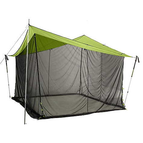 Camp and Hike Features of the Nemo Bugout 12x12 Tent Mesh sides can be rolled up and secured out of the way Attach corners with cord to trekking poles or nearby trees Multiple stake points at each corner allow you to adjust the shelter height Two-way zippered entry / exits at each corner allow for easy access Drop-down mesh walls create a mosquito-free zone or can be rolled up when only a tarp is needed Included Accessories: Drawstring stuff sack, stakes guy-out cord, repair kit Bugout 12x12 is perfect for a large group and Fits easily over a picnic table - $249.95