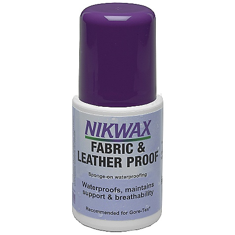 The Fabric & Leather Proof by Nikwax is the ideal solution to waterproof synthetic and leather combination footwear. Features of the Nikwax Fabric and Leather Proof Ideal solution to waterproof synthetic and leather combination footwear Spray-on waterproofing for synthetic and leather combination footwear Volume: 2 fl oz / 60 ml, 4.2 fl oz / 125 ml, 4.2 fl oz / 125 ml - $10.75