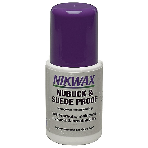 Nikwax Nubuck and Suede Proof DECENT FEATURES of the Nikwax Nubuck and Suede Proof Waterproofing formulated for nubuck and suede leathers Maintains texture of leather Spray-on waterproofing for nubuck and suede leathers. Maintains texture of leather Volume: 2 fl. oz / 60 ml, 4.2 fl. oz / 125 ml, 33.8 fl. oz / 1 liter - $8.50