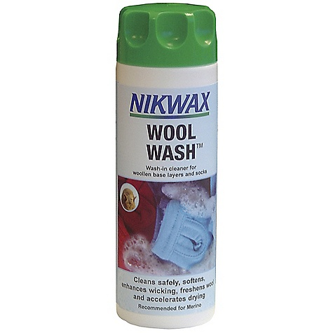 Camp and Hike On Sale. Nikwax Wool Wash DECENT FEATURES of the Nikwax Wool Wash Nikwax Wool Wash is produced specifically for safely cleaning and maintaining the natural qualities of wool garments, while enhancing wool's natural wicking properties Suitable for all wool and Merino Wool base-layer garments/socks such as Ibex, Icebreaker, and Smart wool Volume: 5 fl. oz / 150 ml, 10 fl. oz / 300 ml, 33.8 fl. oz / 1 liter - $5.99