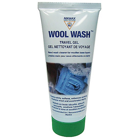 Camp and Hike Nikwax Wool Wash Travel Gel DECENT FEATURES of the Nikwax Wool Wash Travel Gel Hand wash gel cleaner for Merino wool base layers Safely cleans, deodorizes, softens garments and improves garments wicking 60ml carry-on compliant Volume: 2 fl. oz / 60 ml SPECIFICATIONS: Volume: 2 fl oz (60ml) - $4.95