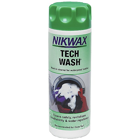 Camp and Hike Nikwax Tech Wash Travel Gel FEATURES of the Nikwax Tech Wash The most important part of good aftercare is proper cleaning Common detergents leave a water-attracting residue Nikwax Tech Wash is a non-detergent cleaner, protecting the water-repellent finish on waterproof clothing, equipment, synthetic insulated garments and sleeping bags Doubles the life of Nikwax treatments Suitable for Gore-Tex, Ultrex, Entrant, eVENT, Triple Point and any Softshell garment Volume: 5 fl oz / 150 ml, 10 fl oz / 300 ml, 33.8 fl oz / 1 liter, 169 fl oz / 5 liter - $9.75
