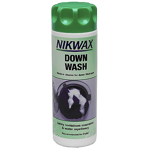 Camp and Hike Nikwax Down Wash DECENT FEATURES of the Nikwax Down Wash Nikwax Down Wash is a mild detergent-free cleaner specifically designed to clean down without stripping it of it's natural loft and insulation qualities Use on down-filled sleeping bags, duvets, comforters and clothing Volume: 5 fl. oz / 150 ml, 10 fl. oz / 300 ml, 33.8 fl. oz / 1 liter - $9.75