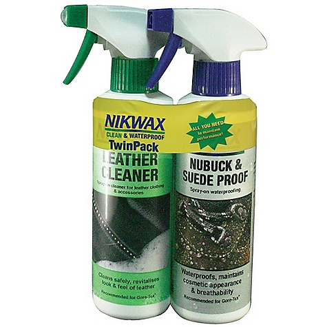 Nikwax Footwear Twin Pack Spray Bottles DECENT FEATURES of the Nikwax Footwear Twin Pack Spray Bottles Provide your customers with a complete footwear care solution and grow your sales! Includes two bottles One for cleaning and the other for waterproofing - $16.50