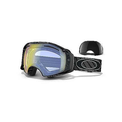 Ski Free Shipping. Oakley Shaun White Signature Airbrake Goggles DECENT FEATURES of the Oakley Shaun White Signature Airbrake Goggles Frame: SwitchLock Technology for the quickest and easiest lens change for any light condition Rigid Front Frame with Flexible O-Matter Rear chassis Rigid Frame support to minimize optical distortion, eliminate nasal pressure and maximize airflow All day comfort of moisture wicking triple-layer polar fleece foam Balanced fit (with or without helmet) via Fixed O-Matter Interchangeable Strap Outriggers Optimized to fit medium to large faces Lens: Comes standard with two lens tints and case Fog elimination of dual vented lenses with F3 Anti-fog technology Tuned light transmission of Iridium lens coating (optional) UV protection of Plutonite lens that filters out 100% of UVA/ UVB/ UVC & harmful blue light up to 400nm - $230.00