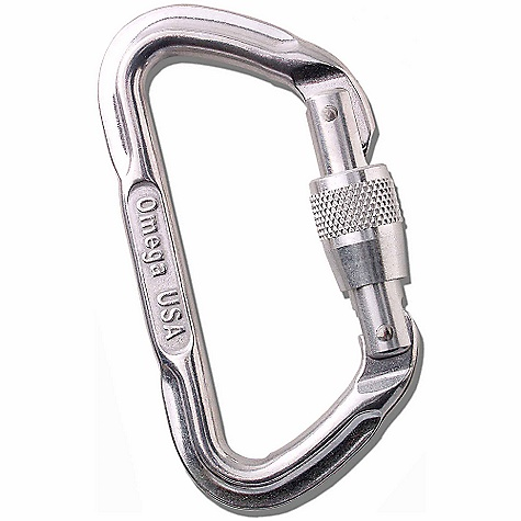 Climbing Omega Pacific Lite Locking D Carabiner SPECIFICATIONS of the Lite Locking D Carabiner by Omega Pacific Gate Opening: 16 mm / .630 inch Major Axis Strength: 24kN Gate Open Strength: 7kN Minor Axis Strength: 9kN Weight: 57 grams / 2.0 ounces Length: 107.4 mm / 4.23 inch Width: 55.6 mm / 2.19 inch - $8.95