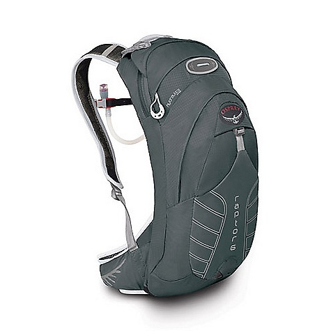 Entertainment On Sale. Free Shipping. Osprey Raptor 6 Pack DECENT FEATURES of the Osprey Raptor 6 Pack LidLock helmet clip Top zippered pocket for quick access Full elastic stretch sternum strap Magnetic sternum buckle Main compartment with tool organization sleeves/mesh pockets Blinker light attachment Stretch woven front pocket Reflective graphics Dual stretch woven hipbelt slash pockets Heat embossed fabric sunglasses pocket (internal) 2 Liter reservoir included Airscape Suspension Ridge molded foam creates a lightweight, yet supportive and ventilated back panel Stretch sternum strap with magnetic hose attachment Lightweight webbing Air Speed Suspension Mesh back panel supported by LightWire frame with side vents and ridge foam backing Stretch sternum strap with magnetic hose attachment Lightweight webbing BioStretch Harness Built-in magnet for quick bite-valve attachment BioStretch Built in HipBelt Mesh covered, perforated hip belt Modified straight ErgoPull hipbelt closure The SPECS Reservoir Weight: 10.8 oz / 0.30 kg 70 x 140D nylon shadow check The SPECS for S/M Capacity: 305 cubic inches / 5 liter Weight: 1 lb 6 oz / 0.61 kg The SPECS for M/L Capacity: 366 cubic inches / 6 liter Weight: 1 lb 9 oz / 0.70 kg Dimension: 18in. x 7in. x 6in. / 46 x 18 x 15 cm OVERSIZE ITEM: We cannot ship this product by any expedited shipping method (3-Day, 2-Day or Next Day). Even if you pick that option, it will still go Ground Shipping. Sorry for being so mean. - $69.99