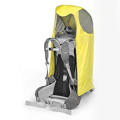 Osprey Poco Raincover DECENT FEATURES of the Osprey Poco Raincover Soft, ventilated seat adjusts up and down for optimal fit and balance Padded, ventilated harness adjusts easily to hold child securely Removable and washable drool pad Framing around child is fully padded for comfort and protection Adjustable stirrups for a more comfortable ride Hydration sleeve behind backpanel Two padded grab handles for balanced lifting Strong, reliable powder coated aluminum frame with injection molded hinges Folds easily for storage or travel High visibility 210D Ripstop Nylon Used in conjunction with Sunshade Clear urethane windows Reflective logo Maximum Load 48.5 lbs / 22 kg (Child, gear and pack combined) The SPECS 210D double ripstop nylon 600D polyester Weight: 7 oz / 0.20 kg - $29.00