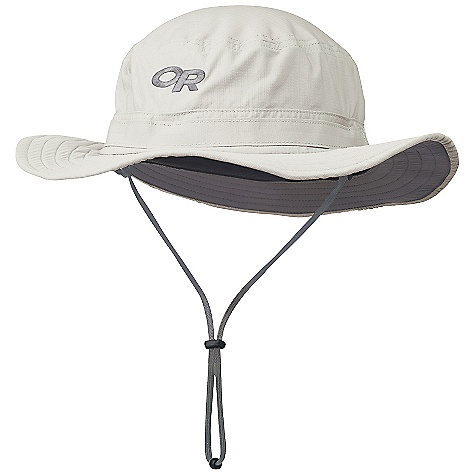 The Helios Sun Hat by Outdoor Research. This broad sun hat has a 50+ UPF rating. The headband moves moisture away from your brow, while the brim offers an oasis of shade. The drawcord adjustment keeps it snug on long trails. Features of the Outdoor Research Helios Sun Hat Breathable Lightweight Wicking Protective SolarShield Construction UPF 50+ Foam-Stiffened Brim Floats Wicking TransAction Headband External Drawcord Adjustment Removable Chin Cord - $37.00