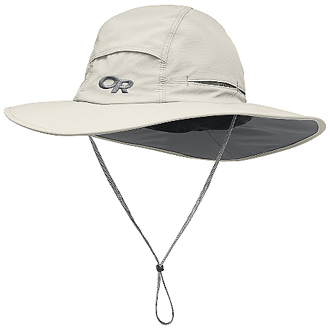 Outdoor Research Sombriolet Sun Hat FEATURES of the Outdoor Research Sombriolet Sun Hat Breathable Lightweight Wicking Protective SolarShield Construction UPF 50+ Flexible Brim Piping Resists Wind Foam-Stiffened Brim Floats Wicking TransAction Headband Mesh- Lined Crown Crown Venting External Drawcord Adjustment Removable Chin Cord - $41.00