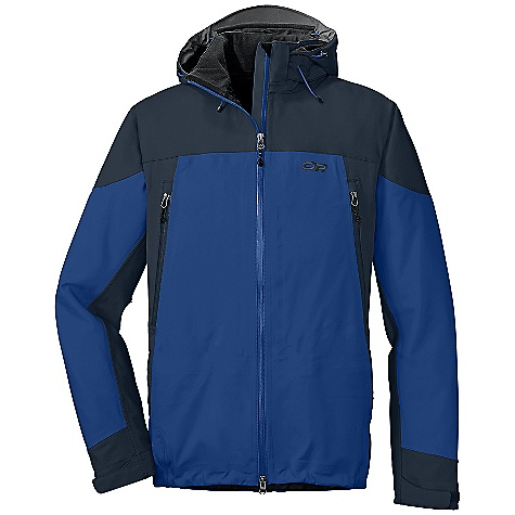 On Sale. Free Shipping. Outdoor Research Men's Motto Jacket DECENT FEATURES of the Outdoor Research Men's Motto Jacket Ventia Dry construction Fully seam taped waterproof/breathable Ventia softshell fabric with warm, fleece interior Water-resistant zippers Zip-off, fully adjustable hood fits over helmet Brushed tricot-lined collar Double-separating front zipper with internal storm flap Double-sliding pit zippers for ventilation Zippered internal pocket with media port two zippered hand pockets Large, zippered rear stash pocket Zip-out, mesh powder skirt with gripper elastic Hook/loop cuff closures Dual drawcord hem adjustments The SPECS Average Weight: (L): 31.1 oz / 881 g Center Back Length: 30 3/4in. / 78 cm Standard Fit This product can only be shipped within the United States. Please don't hate us. - $150.99