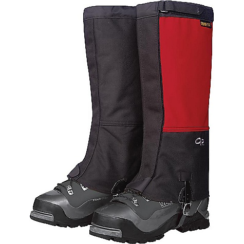 On Sale. Free Shipping. Outdoor Research Expedition Crocodiles Gaiters DECENT FEATURES of the Outdoor Research Expedition Crocodiles Gaiters Ruggedly durable Waterproof Gore-Tex leg Highly tear-and abrasion-resistant Cordura inner leg and boot Abrasion-resistant lower boot lined with 8 oz pack cloth Larger circumference accommodates plastic boots Hook/loop Cinch-Strap top closure 2in.-wide hook/loop front closure Double-stitched front closure Bottom shear tab secures front closure Urethane-coated nylon instep strap Instep strap is field-replaceable The SPECS Weight: (L, per pair): 12.1 oz / 343 g Fabric: 100% nylon, 3-layer 70D Taslan Gore-Tex, 1000D Cordura This product can only be shipped within the United States. Please don't hate us. - $75.99