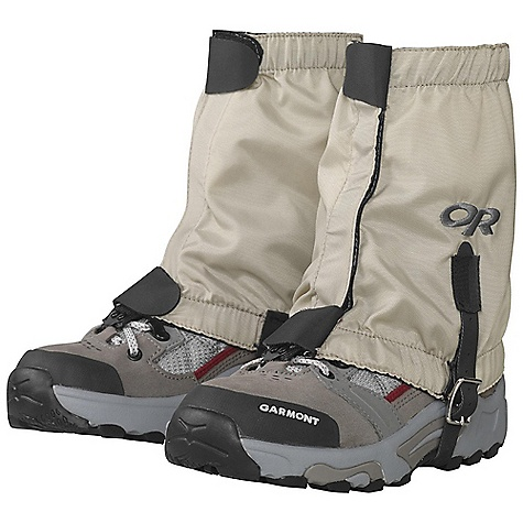 On Sale. Outdoor Research Kid's BugOut Gaiters DECENT FEATURES of the Outdoor Research Kids' BugOut Gaiters Insect Shield repels mosquitoes, ticks, ants, flies, chiggers and no-see-ums EPA Registered Insect Shield lasts over 70 washes 1in.- Wide front closure Top/bottom shear tabs secure front closure Elastic bottom and top edges Double-riveted boot lace hook Hypalon instep strap The SPECS Weight: (L/XL, per pair): 3.5 oz / 99 g Fabric: 100% nylon, 8 oz pack cloth This product can only be shipped within the United States. Please don't hate us. - $24.99