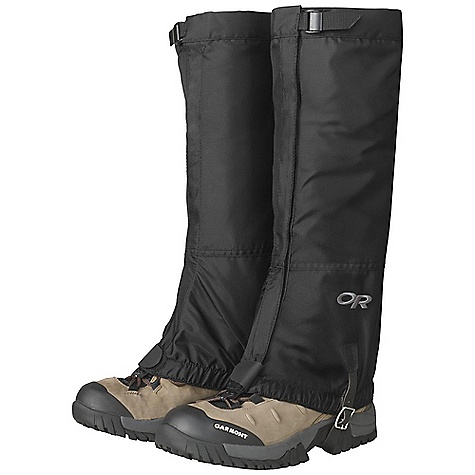 On Sale. Outdoor Research Men's Rocky Mountain High Gaiters DECENT FEATURES of the Outdoor Research Men's Rocky Mountain High Gaiters Breathable, uncoated 8 oz pack cloth upper Water-resistant, coated 8 oz pack cloth lower Strap and cam buckle top closure 1in.- Wide front closure Bottom shear tab secures front closure Elastic bottom edge Double-riveted boot lace hook Hypalon instep strap The SPECS Weight: (L, per pair): 6.8 oz / 193 g Fabric: 100% nylon This product can only be shipped within the United States. Please don't hate us. - $24.99