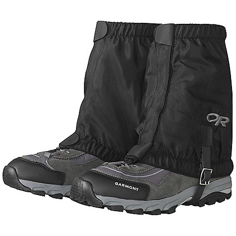 On Sale. Outdoor Research Rocky Mountain Low Gaiters DECENT FEATURES of the Outdoor Research Rocky Mountain Low Gaiters Breathable, uncoated 8 oz pack cloth 1in.-Wide hook/loop front closure Top/bottom shear tabs secure front closure Elastic bottom and top edges Double-riveted boot lace hook Hypalon instep strap The SPECS Weight: (L/XL per pair): 3.5 oz / 99 g Fabric: 100% nylon This product can only be shipped within the United States. Please don't hate us. - $18.99