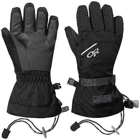 Outdoor Research Kids' Adrenaline Gloves DECENT FEATURES of the Outdoor Research Kids' Adrenaline Gloves Waterproof Wind proof Breathable Wicking Alpine Grip LT Pal m Pre -Curved Box Construction MonoCinch gauntlet Closure Ladder-Lock Wrist Cinch Pull Loop Glove Clip The SPECS Weight: (M, per pair): 3.8 oz / 108 g Comfort Range: 0/20deg F / -17/-7deg C Ventia Dry insert 100% nylon back of hand EnduraLoft 100% polyester insulation 170g insulation at back of hand Heavy fleece lining at palm This product can only be shipped within the United States. Please don't hate us. - $38.95