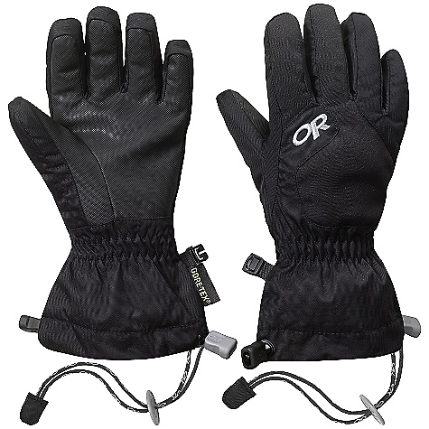 Outdoor Research Kid's Gravitator Gloves (Fall 2009) Specifications for the kid's Gravitator Gloves by Outdoor Research: Avg. Weight: 4.4 oz. / 125 g Intended Usage: Durable, insulated, full-hand protection for cold weather activities Circ. of Hand: S (Yrs: 6-8) - 4.5 in./11 cm; M (Yrs: 9-11) - 5.5 in./14 cm; L (Yrs: 12-14) - 6.5 in./17 cm Length of Hand: S (Yrs: 6-8) - 4.5 in./11 cm; M (Yrs: 9-11) - 5.5 in./14 cm; L (Yrs: 12-14) - 6.5 in./17 cm Features: Pre-curve, boxed construction Elasticized wrist Name/phone # tag inside wrist DuoCinch gauntlet closure Removable Idiot Cord Shell: Waterproof/breathable Gore-Tex insert Shell: Lightweight textured ripstop shell Shell: Stretch soft shell on back of hand Insulation: EnduraLoft insulation: 200 g around hand Insulation: Soft fleece lining Palm: AlpenGrip LT palm This product can only be shipped within the United States. Please don't hate us. - $49.00