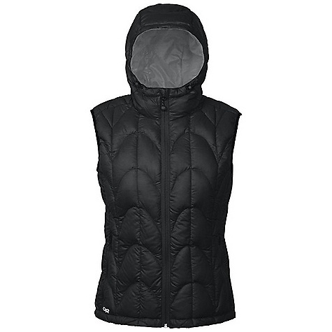 The Women's Aria Down Vest by Outdoor Research. The ultralight Aria Down Vest is filled with 650+ down Insulation to provide extremely compressible warmth for cold-weather adventures. Pull up the hood when the sun sinks or stash the vest away in the included stuff sack. A trim Fit makes this backcountry design trendy enough to wear around town. Features of the Outdoor Research Women's Aria Down Vest Lightweight Breathable Fully Adjustable Hood Internal Front Zip Stormflap Two Zippered Hand Pockets Internal Zippered Pocket Drawcord Hem Stuff Sack Included - $175.00