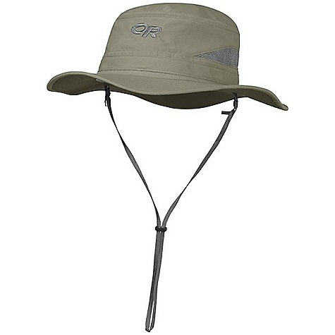 Outdoor Research Sentinel Brim Hat DECENT FEATURES of the Outdoor Research Sentinel Brim Hat Breathable Wicking Protective SolarShield Construction UPF 30 Insect Shield-Insect Repellent Foam-Stiffened Brim Floats Wicking TransAction Headband Breathable Mesh Panels External Drawcord Adjustment Removable Chin Cord The SPECS Weight: (L): 2.5 oz / 72 g 100% Supplex nylon This product can only be shipped within the United States. Please don't hate us. - $46.95