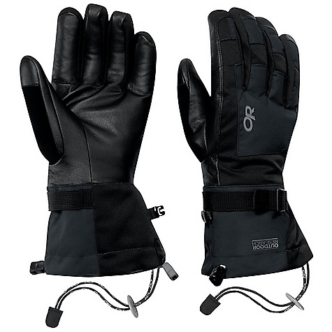 Free Shipping. Outdoor Research Men's Revolution Gloves FEATURES of the Outdoor Research Men's Revolution Gloves Durable Waterproof Windproof Breathable Wicking Quick Drying Soft and Tactile Leather Palm FlexAction Wrist Articulation Matches Natural Hand Position SuperCinch gauntlet Closure Ladder-Lock Wrist Cinch Removable Idiot Cord Pull Loop 340g back of hand 200g palm 133g gauntlet - $69.00