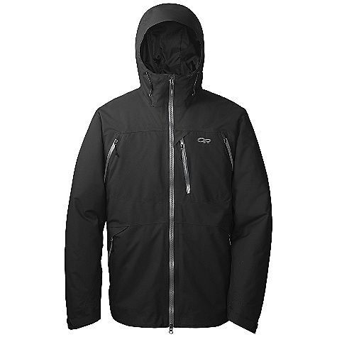 On Sale. Free Shipping. Outdoor Research Men's Axcess Jacket DECENT FEATURES of the Outdoor Research Men's Axcess Jacket Waterproof/breathable, 2-layer 70D Gore-Tex Performance fabric reversed tricot lining EnduraLoft insulation 60g front and arms, 40g back and under arms Integrated Recco reflector Fully seam taped Water-resistant zippers double-separating front zipper Fully adjustable hood fits over a helmet adjustable collar Zip-out Thermodynamic balaclava with internal tuck-away pocket CrossFlo chest-to-hip zippers Nylon/spandex-knit mesh powder skirt with gripper elastic Zippered napoleon pocket with media port and hand pockets Two large, inner Shove-It pockets Inner lift pass pocket with drawcord key-clip attachment Hook/loop cuff closures Dual-drawcord hem adjustments The SPECS Average Weight: (L): 35.5 oz / 1007 g Center Back Length: 31in. / 79 cm Relaxed Fit This product can only be shipped within the United States. Please don't hate us. - $242.99