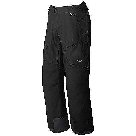 On Sale. Free Shipping. Outdoor Research Men's Axcess Pant DECENT FEATURES of the Outdoor Research Men's Axcess Pant Waterproof/breathable, 2-layer 70D Gore-Tex Performance fabric reversed tricot lined upper legs, smooth taffeta lined lower legs EnduraLoft insulation 40g on seat and knees Integrated Recco reflector Fully seam taped; water-resistant zippers Brushed tricot lined waist band; snap and zipper fly with adjustable elastic tabs Accepts accessory suspenders Inner and outer thigh vents Nylon/spandex-knit mesh gaiters with gripper elastic Zippered hand pockets, one with beacon pocket with key-clip attachment Two cargo pockets and one back pocket Reinforced ankle scuff guards Articulated knees Gusseted crotch The SPECS Average Weight: (L): 28.9 oz / 820 g Relaxed Fit This product can only be shipped within the United States. Please don't hate us. - $163.99