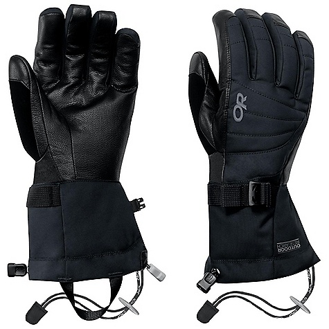 Free Shipping. Outdoor Research Women's Revolution Gloves FEATURES of the Outdoor Research Women's Revolution Gloves Durable Waterproof Windproof Breathable Wicking Quick Drying Soft and Tactile Leather Palm FlexAction Wrist Articulation Matches Natural Hand Position SuperCinch gauntlet Closure Ladder-Lock Wrist Cinch Removable Idiot Cord Pull Loop 340g back of hand 200g palm 133g gauntlet - $69.00