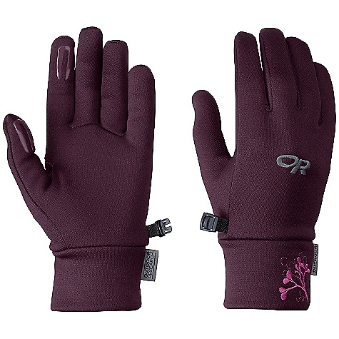 Outdoor Research Women's PL 100 Gloves DECENT FEATURES of the Outdoor Research Women's PL 100 Gloves Breathable Lightweight Wicking Quick Drying Silicone Grip Pads on Palm and Finger Tips Contoured Wrist Glove Clip The SPECS Weight: (M, per pair): 1.6 oz / 46 g Comfort Range: 35/45deg F / 2/7deg C Radiant Fleece 95% polyester, 5% spandex 100-weight This product can only be shipped within the United States. Please don't hate us. - $26.95