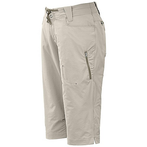 Free Shipping. Outdoor Research Women's Ferrosi Capris DECENT FEATURES of the Outdoor Research Women's Ferrosi Capris Water Resistant Wind Resistant Breathable Durable Belt Loops Dual-Snap Zipper Fly Ribbon Drawcord Low-Profile Waist Fits Under Harness Brushed-Tricot-Lined Waistband Front Slash Pockets Zippered Rear Pockets Zippered Thigh Pocket Gusseted Crotch The SPECS Weight: 7.9 oz / 223 g Fit: Standard Inseam: 17 1/2in. / 44 cm 86% ripstop, 14% spandex, stretch-woven This product can only be shipped within the United States. Please don't hate us. - $71.95