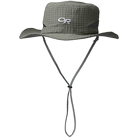 Outdoor Research Men's Sol Hat DECENT FEATURES of the Outdoor Research Men's Sol Hat Breathable Lightweight Wicking Protective SolarShield Construction UPF 30 Foam-Stiffened Brim Floats Wicking TransAction Headband Breathable Mesh Panels External Drawcord Adjustment Removable Chin Cord The SPECS Weight: (L): 2.6 oz / 73 g 100% nylon crown Supplex 100% nylon under brim This product can only be shipped within the United States. Please don't hate us. - $36.95