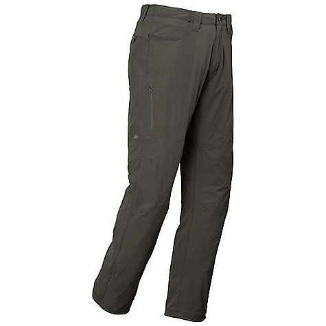 On Sale. Free Shipping. Outdoor Research Men's Ferrosi Pants DECENT FEATURES of the Outdoor Research Men's Ferrosi Pants Water Resistant Quick Drying Wind Resistant Breathable Lightweight Durable Belt Loops Button and Zipper Fly Low-Profile Waist Fits Under Harness Brushed-Tricot-Lined Waistband Front Slash Pockets Zippered Rear Pockets Zippered Thigh Pocket Gusseted Crotch Articulated Knees The SPECS Weight: (L): 14.1 oz / 354 g Standard Fit Inseam: 32 1/2in. / 81.9 cm 86% ripstop, 14% spandex, stretch-woven This product can only be shipped within the United States. Please don't hate us. - $58.99