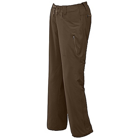 The Outdoor Research Women's Ferrosi Pants Are Softshell pants for standing up to the rigors of hiking and Climbing. The Ferrosi is lightweight and breathable so you won?t overheat, while maintaining durability so you can scramble up rock, hike through tall grass, and climb over trees that have fallen across the path. The blend of nylon and spandex provides wind resistance while allowing plenty of stretch and movement. The durable water repellent finish provides water resistance in a light rain. A standard Fit allows for plenty of space if you decide to add a base layer underneath. The drawstring at the waist keeps the pants up or add a belt to utilize the belt loops. Two front pockets with zippered back and tHigh pockets secure smaller Items to your person. Features of the Outdoor Research Women's Ferrosi Pants Water Resistant Wind Resistant Breathable Durable Belt Loops Dual-Snap Zipper Fly Herringbone Webbing Waist Tie Low-Profile Waist Fits Under Harness Brushed-Tricot-Lined Waistband Front Slash Pockets Zippered Rear Pockets Zippered THigh Pocket Articulated Knees Drawcord Ankle Adjustments - $79.00