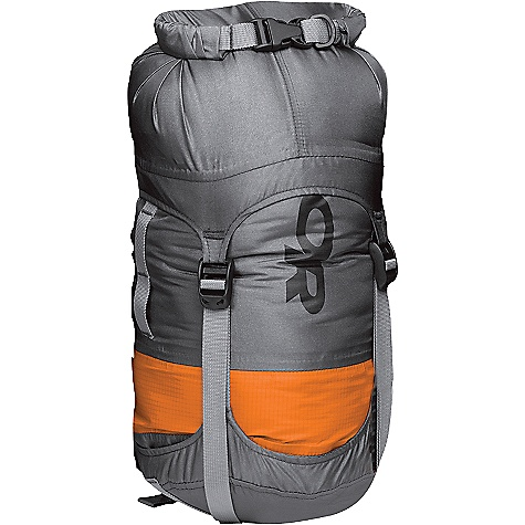 Outdoor Research AirPurge Dry Compression Sack DECENT FEATURES of the Outdoor Research Airpurge Dry Compression Sack Durable Lightweight Fully Seam Taped Waterproof Roll-Top Closure with Lightweight TPU -Coated Webbing Air-Permeable Band Allows Evacuation of Air for More Complete Compression Four Compression Straps Durable Buckle Closure External Daisy Chain Webbing Handle on Bottom The SPECS 100% nylon, 70D with TPU 100% nylon, 30D air-permeable band The SPECS for 5L Average Weight: 3.2 oz / 92 g Dimension: 15 x 5 1/2in. / 38 x 14 cm Volume: 305 cubic inches The SPECS for 8L Average Weight: 3.6 oz / 104 g Dimension: 18 x 6 1/2in. / 46 x 17 cm Volume: 488 cubic inches The SPECS for 10L Average Weight: 4.5 oz / 130 g Dimension: 21 1/2 x 7in. / 55 x 18 cm Volume: 610 cubic inches The SPECS for 15L Average Weight: 5.1 oz / 146 g Dimension: 24 x 8in. / 61 x 20 cm Volume: 915 cubic inches The SPECS for 20L Average Weight: 5.7 oz / 164 g Dimension: 25 x 9in. / 64 x 23 cm Volume: 1220 cubic inches The SPECS for 35L Average Weight: 6.6 oz / 190 g Dimension: 29 x 10in. / 74 x 25 cm Volume: 2136 cubic inches This product can only be shipped within the United States. Please don't hate us. - $40.95