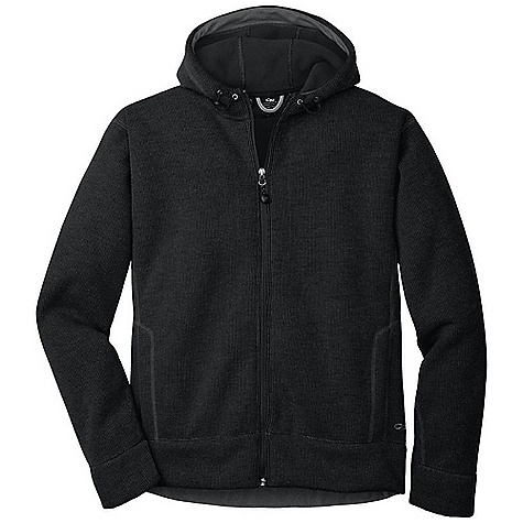 The Outdoor Research Men's Exit Hoody. Sweater-style, fleecy mid or outer-layer for warmth in blustery conditions. Features of the Outdoor Research Men's Exit Hoody Quick Drying Wicking Full Center Front Zipper Internal Front-Zip Stormflap Dual Hand warmer Pockets - $104.99
