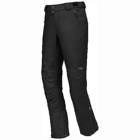 On Sale. Free Shipping. Outdoor Research Men's Alibi Pant DECENT FEATURES of the Outdoor Research Men's Alibi Pant Hybrid Mapped Construction Water Resistant Wind Resistant Breathable Durable Movement-Mirroring Stretch Water-Resistant Zippers Accepts Accessory Suspenders Belt Loops Dual-Snap Zipper Fly Adjustable Tabs at Waist Low-Profile Waist Fits Under Harness Zippered Pockets Zippered Thigh Pocket Zippered Thigh Vents Gusseted Crotch Articulated Knees Reinforced Scuff Guards Ankle Zippers Snap/Drawcord Cuff Closures Grommets for Instep Lace Boot Lace Clip The SPECS Weight: (L): 21.1 oz / 598 g Trim Fit Inseam: 33in. / 84 cm Ventia Hybrid 100% nylon, 40D 3L twill with fleece backer seat below knee 100% nylon 40D with fleece backer body This product can only be shipped within the United States. Please don't hate us. - $154.99