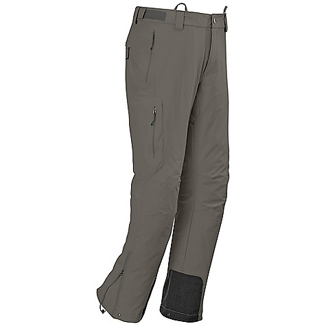 Free Shipping. Outdoor Research Men's Cirque Pant DECENT FEATURES of the Outdoor Research Men's Cirque Pant Water Resistant Wind Resistant Breathable Durable Accepts Accessory Suspenders Belt Loops Button and Zipper Fly Adjustable Tabs at Waist Low-Profile Waist Fits Under Harness Zippered Pockets Gusseted Crotch Articulated Knees Reinforced Scuff Guards Drawcord Cuff Closures Ankle Zippers Grommets for Instep Lace Boot Lace Hook DWR Coated Zippers The SPECS Weight: (L): 20.6 oz / 581 g Trim Fit Inseam: 33in. / 84 cm 50% nylon, 43% polyester, 7% spandex, double weave, stretch-woven This product can only be shipped within the United States. Please don't hate us. - $139.95
