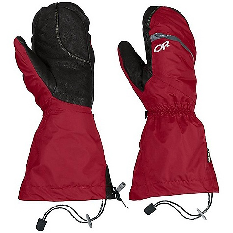 Free Shipping. Outdoor Research Men's Alti Mitt DECENT FEATURES of the Outdoor Research Men's Alti Mitt Waterproof Breathable Lightweight Wicking Fully Seam Taped Removable Liner Kevlar Stitching on Palm Moonlite Pile Fleece Liner Palms Pre-Curved Box Construction Three-Panel Thumb SuperCinch gauntlet Closure ToughTek LT Tabs Prevent Slipping Heat Pack Pocket on Back of Liner Pull Loop The SPECS Weight: (L, per pair with liner): 12.8 oz / 364 g Comfort Range: -40/-20deg F / -40/-28deg C Gore-Tex 2.5L 100% nylon, 40D ripstop shell Pittards Armortan leather shell palm 100% nylon ripstop liner PrimaLoft 100% polyester insulation PrimaLoft One Insulation: 170g in shell, 340g in liner Gore-Tex Modular Fixed Insulation Heat Pack Pocket Leather Palm This product can only be shipped within the United States. Please don't hate us. - $198.95