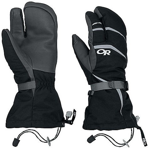 Free Shipping. Outdoor Research Men's HighCamp 3-Finger Glove DECENT FEATURES of the Outdoor Research Men's HighCamp 3-Finger Glove Durable Waterproof Breathable Wicking Removable Liner Soft and Tactile Leather Palm Silicone Grip Liner Palm Moonlite Pile Fleece Liner Palms Pre-Curved Construction SuperCinch gauntlet Closure Ladder-Lock Wrist Cinch Heat Pack Pocket on Back of Liner Pull Loop The SPECS Weight: (L, per pair with liner): 10.3 oz / 291 g Comfort Range: -15/15deg F / -26/-9deg C Ventia Dry insert, 100% nylon shell Goat leather palm PrimaLoft 100% polyester insulation PrimaLoft One Insulation: 340g in shell 100% polyester 100 weight fleece liner Ventia Modular Fixed Insulation Heat Pack Pocket Leather Palm This product can only be shipped within the United States. Please don't hate us. - $83.95