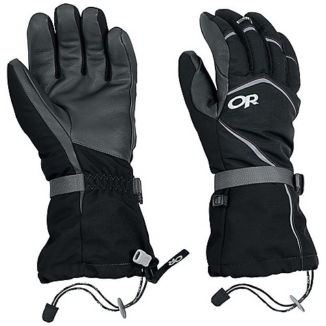 Free Shipping. Outdoor Research Men's HighCamp Glove DECENT FEATURES of the Outdoor Research Men's HighCamp Glove Durable Waterproof Breathable Wicking Removable Liner Soft and Tactile Leather Palm Silicone Grip Liner Palm Moonlite Pile Fleece Liner Palms Pre-Curved Construction SuperCinch gauntlet Closure Ladder-Lock Wrist Cinch Heat Pack Pocket on Back of Liner Pull Loop The SPECS Weight: (L, per pair with liner): 10.3 oz / 292 g Comfort Range: -15/15deg F / -26/-9deg C Ventia Dry Insert 100% nylon shell Goat leather palm PrimaLoft 100% polyester insulation PrimaLoft One Insulation: 340g in shell 100% polyester 100 weight fleece liner Ventia Modular Fixed Insulation Heat Pack Pocket Leather Palm This product can only be shipped within the United States. Please don't hate us. - $83.95