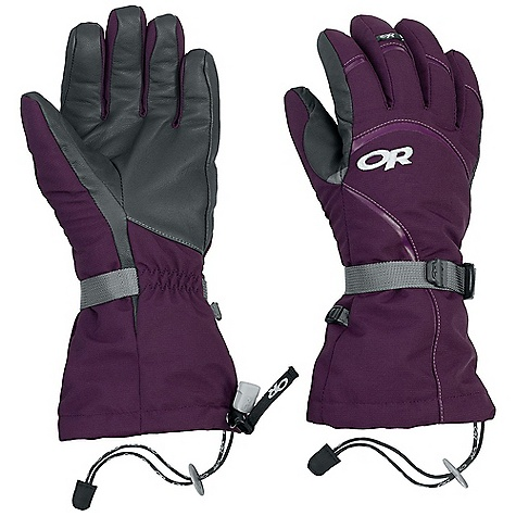 Free Shipping. Outdoor Research Women's HighCamp Glove DECENT FEATURES of the Outdoor Research Women's HighCamp Glove Durable Waterproof Breathable Wicking Removable Liner Soft and Tactile Leather Palm Silicone Grip Liner Palm Moonlite Pile Fleece Liner Palms Pre-Curved Construction SuperCinch gauntlet Closure Ladder-Lock Wrist Cinch Heat Pack Pocket on Back of Liner Pull Loop The SPECS Weight: (M, per pair with liner): 9.2 oz / 260 g Comfort Range: -15/15deg F / -26/-9deg C Ventia Dry Insert 100% nylon shell Goat leather palm PrimaLoft 100% polyester insulation PrimaLoft One Insulation: 340g in shell 100% polyester 100 weight fleece liner Ventia Modular Fixed Insulation Heat Pack Pocket Leather Palm This product can only be shipped within the United States. Please don't hate us. - $83.95