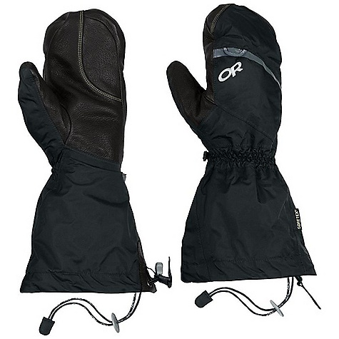 Free Shipping. Outdoor Research Women's Alti Mitt DECENT FEATURES of the Outdoor Research Women's Alti Mitt Waterproof Breathable Lightweight Wicking Fully Seam Taped Removable Liner Kevlar Stitching on Palm Moonlite Pile Fleece Liner Palms Pre-Curved Box Construction Three-Panel Thumb SuperCinch gauntlet Closure ToughTek LT Tabs Prevent Slipping Heat Pack Pocket on Back of Liner Pull Loop The SPECS Weight: (M, per pair with liner): 11.8 oz / 333 g Comfort Range: -40/-20deg F / -40/-28deg C Gore-Tex 2.5L 100% nylon, 40D ripstop shell Pittards Armortan leather shell palm 100% nylon ripstop liner PrimaLoft 100% polyester insulation PrimaLoft One Insulation: 170g in shell, 340g in liner Gore-Tex Modular Fixed Insulation Heat Pack Pocket Leather Palm This product can only be shipped within the United States. Please don't hate us. - $198.95