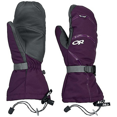 Free Shipping. Outdoor Research Women's HighCamp Mitt DECENT FEATURES of the Outdoor Research Women's HighCamp Mitt Durable Waterproof Breathable Wicking Removable Liner Soft and Tactile Leather Palm Silicone Grip Liner Palm Moonlite Pile Fleece Liner Palms Pre-Curved Construction SuperCinch gauntlet Closure Ladder-Lock Wrist Cinch Heat Pack Pocket on Back of Liner Pull Loop The SPECS Weight: (M, per pair with liner): 9.5 oz / 268 g Comfort Range: -20/10deg F / -29/-12deg C Ventia Dry insert, 100% nylon shell Goat leather palm PrimaLoft 100% polyester insulation PrimaLoft One Insulation: 340g in shell 100% polyester 100 weight fleece liner Ventia Modular Fixed Insulation Heat Pack Pocket Leather Palm This product can only be shipped within the United States. Please don't hate us. - $83.95