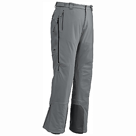 Ski Free Shipping. Outdoor Research Men's TrailBreaker Pant DECENT FEATURES of the Outdoor Research Men's TrailBreaker Pant Ventia Hybrid Construction Rugged, Waterproof Ventia Soft Shell Lower Legs with Warm Fleece Interior Nylon Polyester Stretch Double-Weave Backing on Upper Legs and Body Accepts Accessory Suspenders Snap and Zipper Fly Two Zippered Hand Pockets; Secure Avalanche Beacon Pocket with Key-clip Attachment Two Zippered Thigh Pockets and Back Pocket Knee Pad Pockets Dual Sliding Thigh-Length Side Zippers Zip-out Internal Mesh Gaiters with Gripper Elastic Reinforced Ankle Scuff Guards Zippered Ankles Fit Over Ski and Mountaineering Boots Grommets for Instep Lace The SPECS Weight: (L): 24.4 oz / 690 g Trim Fit Inseam: 33 1/4in. / 85 cm 50% nylon I 43% polyester 17% spandex upper leg 100% nylon with brushed tricot liner lower leg This product can only be shipped within the United States. Please don't hate us. - $194.95