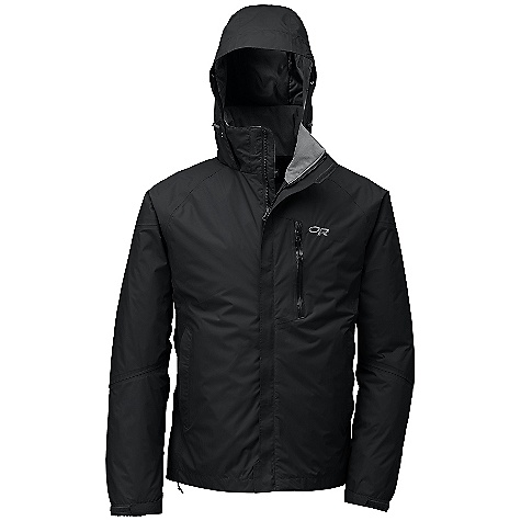 On Sale. Free Shipping. Outdoor Research Men's Sojourn Jacket DECENT FEATURES of the Outdoor Research Men's Sojourn Jacket Waterproof/breathable, 2-layer 40D Pertex Shield DS stretch ripstop fabric; dropped mesh lining Fully seam taped Fully adjustable hood fits over helmet folds into collar Double-separating front zipper with external storm flap Double-sliding water-resistant TorsoFlo hem-to-bicep zippers Two zippered hand pockets zippered napoleon pocket Zippered internal chest pocket with media port Elastic cuffs with hook/loop tabs Dual drawcord hem adjustments The SPECS Target Weight: (L): 24.7 oz / 700 g Center Back Length: 29 1/2in. / 75 cm Standard Fit This product can only be shipped within the United States. Please don't hate us. - $103.99