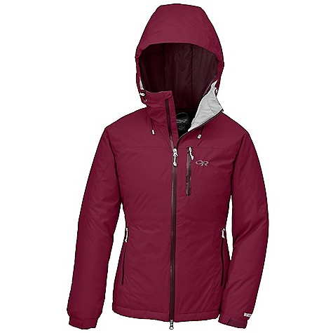 On Sale. Free Shipping. Outdoor Research Women's Chaos Jacket DECENT FEATURES of the Outdoor Research Women's Chaos Jacket Water Resistant Wind Resistant Adjustable Wire-Brimmed Hood Fully Adjustable Hood with Stretch Fabric Panels Two Way Separating Front Zipper Zippered Napoleon Pocket Two Stretch Binding Hand Pockets Internal Shove-It Pockets Hook/Loop Cuff Closures Drawcord Hem Inside packable Chest Pocket DWR Coated Zipper at Center Front The SPECS Weight: (M): 23.9 oz / 677 g Standard Fit Center Back Length: 27in. / 67 cm Pertex Endurance, 100% nylon, 30D ripstop face Pertex Quantum 100% nylon 20D Ripstop lining PrimaLoft One Insulation, 70g body and sleeves, 133g hood This product can only be shipped within the United States. Please don't hate us. - $141.99