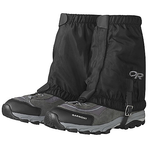 Outdoor Research Kids' Rocky Mountain Low Gaiter DECENT FEATURES of the Outdoor Research Kids' Rocky Mountain Low Gaiter Breathable, uncoated 8 oz pack cloth 1in.- wide hook/loop front closure Top/bottom shear tabs secure front closure Elastic bottom and top edges Double-riveted boot lace hook Hypalon instep strap The SPECS Weight: (L/XL, per pair): 4.8 oz / 136 g Fabric: 100% nylon This product can only be shipped within the United States. Please don't hate us. - $26.95