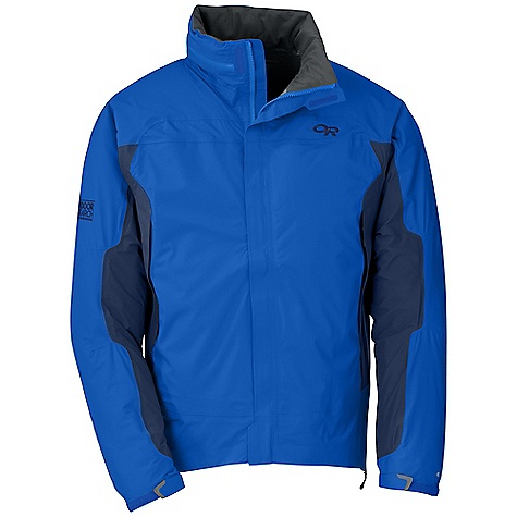 On Sale. Free Shipping. Outdoor Research Men's Revel Jacket DECENT FEATURES of the Outdoor Research Men's Revel Jacket Waterproof Breathable Fully seam taped Water-resistant zippers Adjustable hood zips into collar Double-separating front zipper External front zip storm flap Double-sliding Torso Flo hemto- bicep zippers Multiple utility pockets; internal, hand Left hand pocket doubles as stuff sack Elastic cuffs with cuff closure Drawcord hem The SPECS Weight: (L): 14.1 oz / 400 g Fit: Standard Center Back Length: 29 1/2in. / 75 cm Fabric: 100% nylon, 2.5-layer 40D Pertex Shield DS stretch ripstop This product can only be shipped within the United States. Please don't hate us. - $117.99