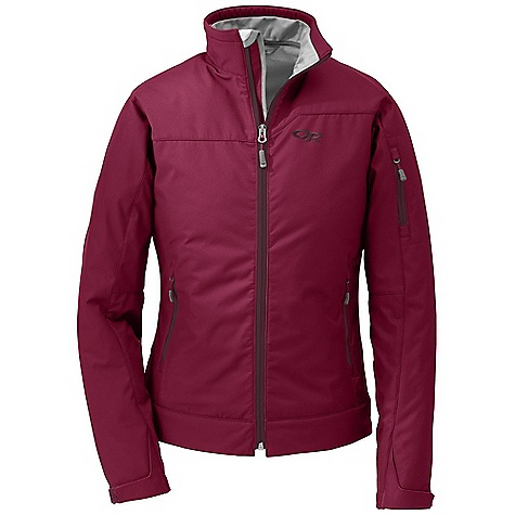 Free Shipping. Outdoor Research Women's Transfer Jacket DECENT FEATURES of the Outdoor Research Women's Transfer Jacket Water Resistant Wind Resistant Breathable Brushed-Tricot-Lined Collar Two Zippered Hand Pockets Arm Pocket Hook/Loop Cuff Closures Drawcord Hem The SPECS Weight: (M): 17.1 oz / 484 g Standard Fit Center Back Length: 25in. / 64 cm 100% nylon soft shell face 100% polyester brushed fleece interior This product can only be shipped within the United States. Please don't hate us. - $129.95